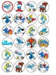 24 x The Smurfs Edible Wafer Rice Paper Cup Cake Bun Top Toppers